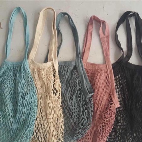 Handbags - Cotton French Market Open Net Tote Bag Cool Blue